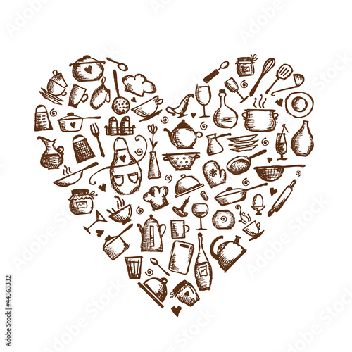 I love cooking! Kitchen utensils sketch, heart shape