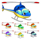 Funny helicopter. Cartoon and vector isolated character.