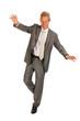 Balancing senior business man
