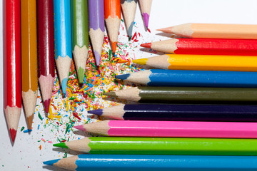 Colorful pencils with shaving