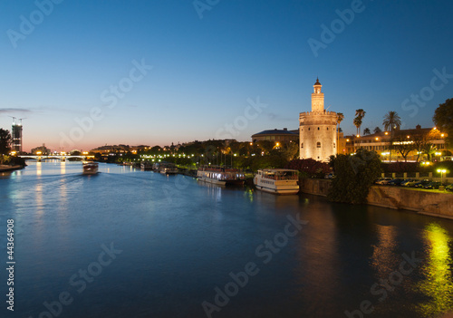 view of river Guadalquivir in Seville with Golden Tower (Torre d