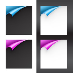 Set of Black and White Papers with Bent Corners