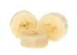 Bananen Stücke makro und freigestellt