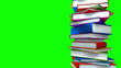 Colorful Books Stack (Loop on Green Screen)