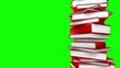 Red Books Stack (Loop on Green Screen)