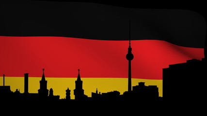 Berlin skyline with rippling German Flag animation