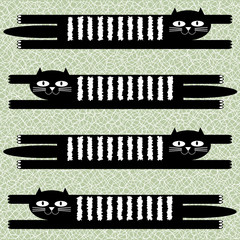 Lying black cats background