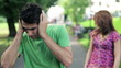 Relationship difficulties, couple fighting outdoors