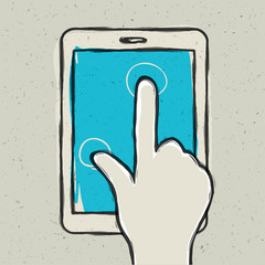 Abstract hand touching digital tablet. Vector illustration, EPS1