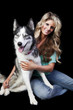 Woman With American Husky