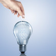 Business term and electric bulb