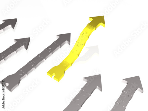 Yellow and grey arrows