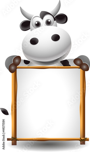 funny cartoon cow with board