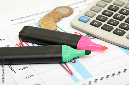 Calculator, coins and pen laying on chart