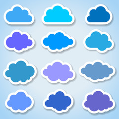 Set of 16 paper colorful clouds, vector illustration