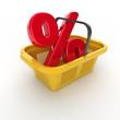 Warenkorb mit dem Prozent-Zeichen