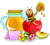 apple and honey - symbols of the jewish new year