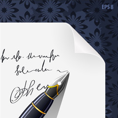 piece of paper blank contract with ink pen vector illustration