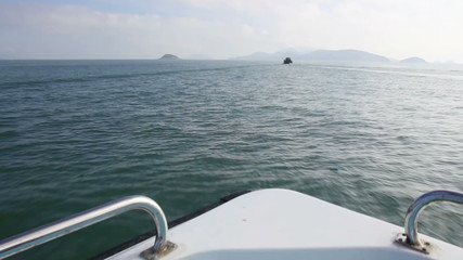 Floating boat.View from the bow of a cruise ship,Matsu,Taiwan