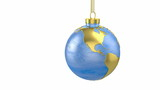 Christmas ball shaped as globe or planet, America part