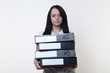 woman holding folders