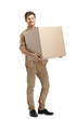 Rounds man carries the box, isolated, white background