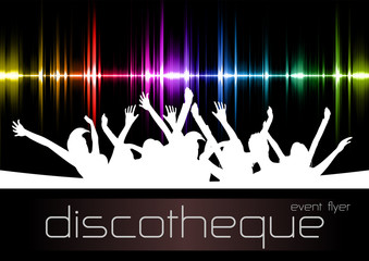 "vector template ""sound and partypeople"" for disco events"