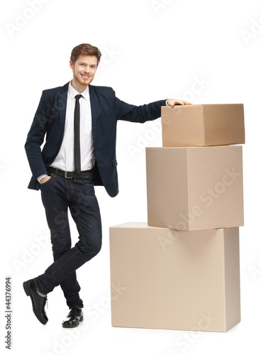 Advisor sales the goods, isolated, white background
