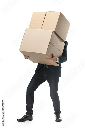 Shop assistant carries the goods, isolated, white background
