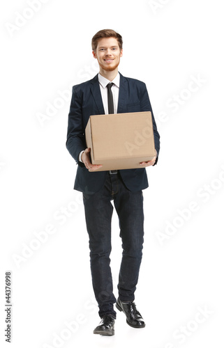 Shop assistant brings the parcel, isolated, white background