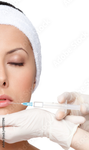 Botox lips correction, half-viewed face, isolated