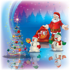 greeting with Santa Claus and Christmas tree