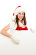 young girl in red santa hat  with billboard isolated on white ba