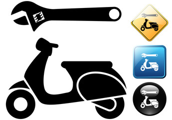 Scooter repair pictogram and icons