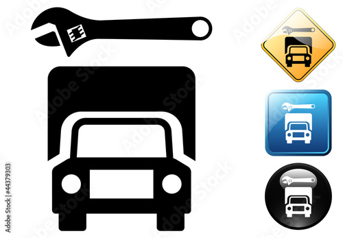 Truck repair pictogram and icons