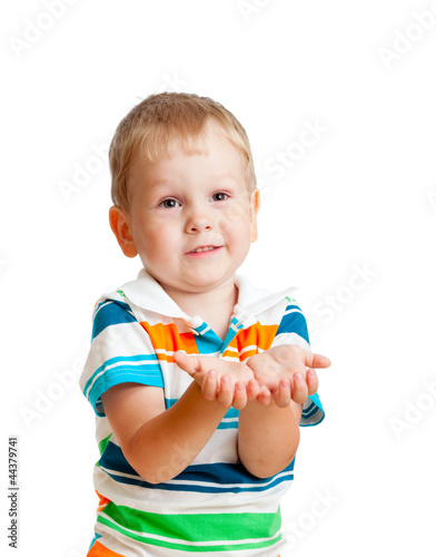 Little child boy reaching his hands out, isolated on white