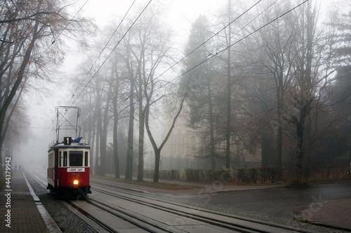 Historic tram in the fog - 44379942