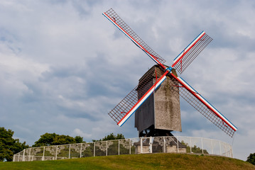 Original old windmill in Bruges, Belgium
