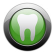 "Green Metallic Orb Button ""Dental Medicine / Dentistry"""
