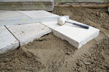 Stone tiles installation