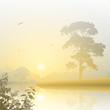 A Misty River Landscape with Sunrise, Sunset