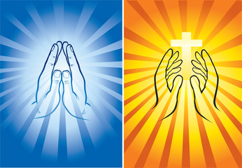 hands holding cross and praying