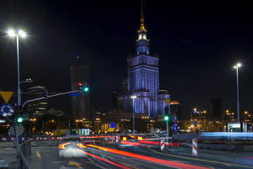 Palace of Culture in Warsaw at night time.