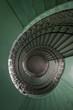 Grunge, green spiral staircase