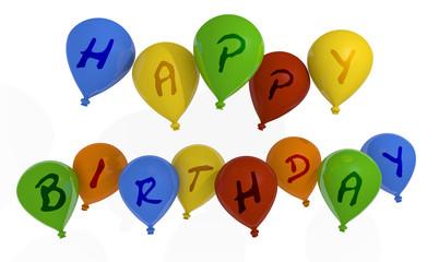 Happy birthday balloons, 3d image