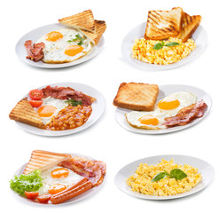 set with various plates of fried and scrambled eggs