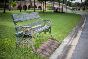 Old vintage bench in the park