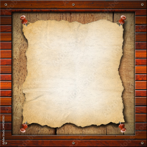 Old Empty Paper in Wood Frame