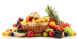 Assortment of exotic fruits and berries in baskets isolated