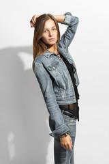 Beautiful model in black on grey